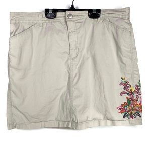 Croft & Barrow 14? Tan Skort Floral Embroidery